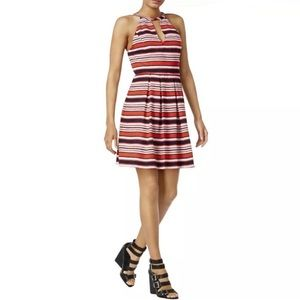 KENSIE STRIPED CUTOUT FIT & FLARE DRESS ~ NWOT